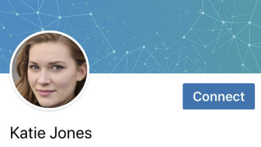 Part of a LinkedIn profile for someone who identified themselves as Katie Jones.