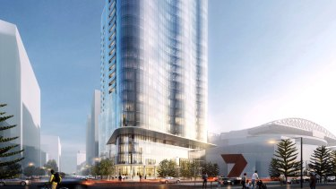 Salta Properties' proposed new 26 storey apartment tower with an Indigo Hotel in Melbourne's Docklands.