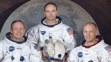 "The crew of the Apollo 11, from left, Neil Armstrong, commander; Michael Collins, module pilot; Edwin E. ""Buzz"" Aldrin, lunar module pilot. Apollo 11 was the first manned mission to the surface of the moon."