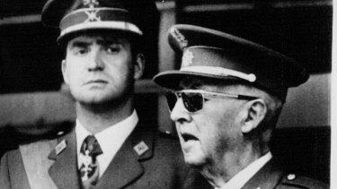 Spanish Chief of state General Francisco Franco  (right) in 1973 with his future successor as king, Prince Juan Carlos de Borbon.
