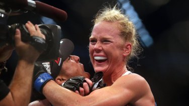 Holly Holm celebrates her win over Ronda Rousey in Melbourne in 2015.