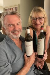 Old pals: Sam Neill and Judy Sarris share the love for fine wine.