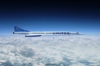 A rendering of the supersonic jet that United Airlines will buy from Boom Supersonic.