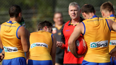 West Coast coach Adam Simpson has not had his side play as consistently as in 2018 but they are improving.