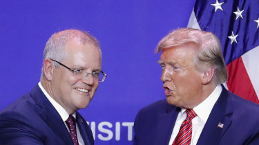 Scott Morrison famously stood alongside Donald Trump at a factory opening in Wapakoneta, Ohio, that had the look and feel of a campaign rally.