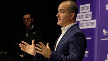 Education Minister James Merlino announces a return to digital learning with Premier Daniel Andrews.