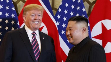 Different ideas:  US President Donald Trump, left, and North Korean leader Kim Jong-un in Hanoi before the summit was aborted.