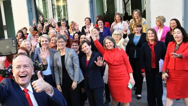 Opposition Leader Bill Shorten takes a selfie with Labor's female MPs last year.