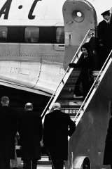 The Queen and Duke of Edinburgh arriving at Heathrow Airport in 1952 after the news of the passing of King George VI.