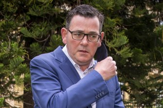 Daniel Andrews faces the media on Monday.