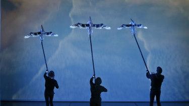 L-R: Puppeteers Emily Burton and Ellen Bailey, Drew Wilson with the eerie birds.