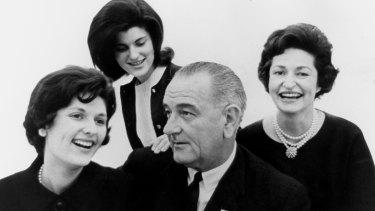 President Lyndon B. Johnson with Lynda Bird Johnson (left), Luci Baines Johnson and Lady Bird Johnson in 1963.