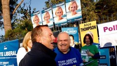 Former Australian prime minister Tony Abbott voting on Saturday morning at Forestville primary school.
