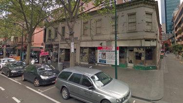The run-down Job Warehouse building at 54-62 Bourke Street.