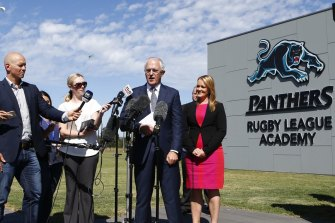 Prime Minister Malcolm Turnbull opens the Penrith Panthers Rugby League Academy in 2016.