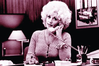 Dolly Parton in the hit movie Nine to Five. Her theme song won a Grammy and a Golden Globe.