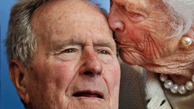 Former president George H.W. Bush and his wife Barbara in 2012.