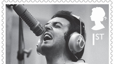 One of the 12 stamps released by Britain's Royal Mail to celebrate singer and songwriter Paul McCartney.