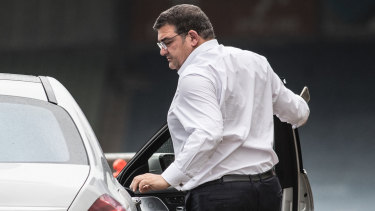 Carlton president Mark LoGiudice arrives at club headquarters.