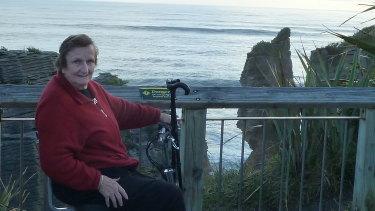 Ann Begbie, 87 at Punakaiki Rocks on the South Island of New Zealand.