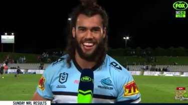 Toby Rudolf during his Fox Sports interview. He has been warned by the NRL for his comments.