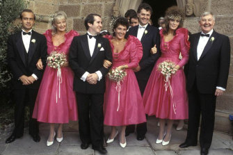 Patti Mostyn, centre, with the bridal party at the 1984 Sydney wedding.