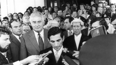 David Smith, secretary to the governor-general, announces that Sir John Kerr has dismissed the Whitlam government on November 11, 1975.