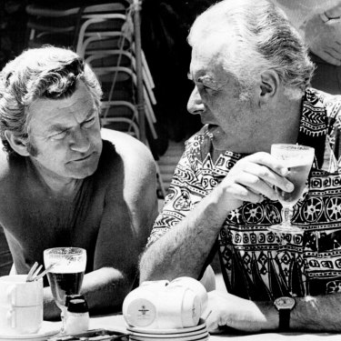 Bob Hawke and Gough Whitlam enjoy a poolside beer at the ALP Conference, Terrigal, 1975.