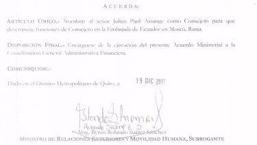 One of the documents relating to a plan to move Julian Assange to Moscow.