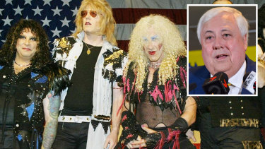 Clive Palmer, inset, says he does not need to pay to use a reworked version of the Twisted Sister song in his political advertisements.  Dee Snider, right, is expected to give evidence.