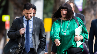 Gathering forces: NSW Waratahs CEO Andrew Hore and Rugby Australia CEO Raelene Castle arrive for the code of conduct hearing.