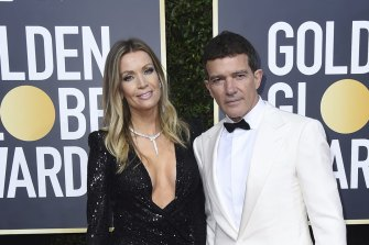 Antonio Banderas, right, and Nicole Kimpel at the Golden Globe Awards in January this year.