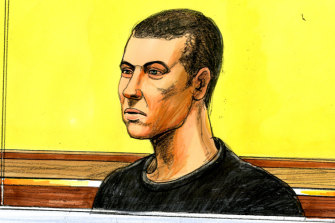 A sketch of Joshua Horton, who faced court on Wednesday.