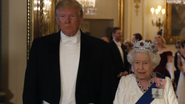 US President Donald Trump, pictured with the Queen, is also visiting London.