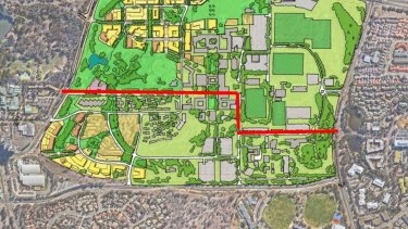 An early proposal for the light rail route through the University of Canberra.