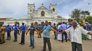 Sri Lankan army soldiers secure the area around St Anthony's Shrine after a blast in Colombo, Sri Lanka.