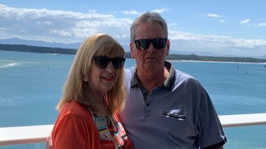 Shane Soutter, pictured with his wife Christine, said officials boarded the cruise on Tuesday night to collect the possessions of missing passengers.