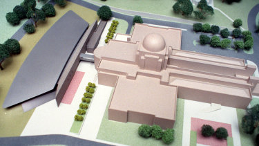An artist impression of Anzac Hall, the grey building on the far left. It was completed in 2001.