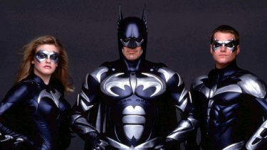 Alicia Silverstone as Bat Girl, George Clooney as Batman and Chris O'Donnell as Robin in Batman & Robin.
