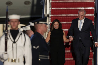 Prime Minister Scott Morrison and wife Jenny arrive in the United States where Donald Trump will host a state dinner at the White House.