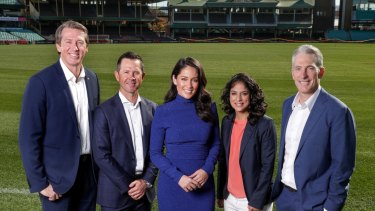 New team: Channel Seven's commentary team of Glenn McGrath, Ricky Ponting, Mel McLaughlin, Lisa Sthalekar and Damien Fleming.