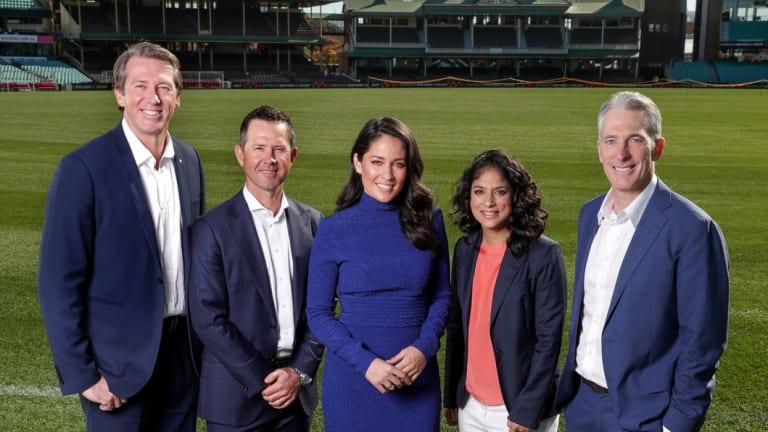 New team: Channel Seven's commentary team of Glenn McGrath, Ricky Ponting, Mel McLaughlin, Lisa Sthalekar and Damien Fleming.