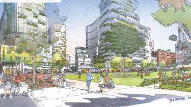 An artist's impression for one of the options of the redevelopment, the Waterloo Village Green