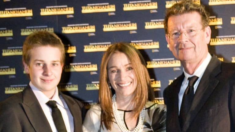 Samuel Symons, left, with his parents at a film premiere in 2011.
