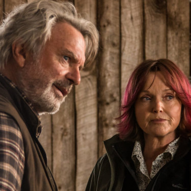Sam Neill as sheep farmer Colin Grimurson and Miranda Richardson as Kat, the vet, in Jeremy Sims' Australian remake of the Icelandic cult classic Rams.