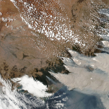 A January 4 satellite image from NASA shows smoke from the Black Summer fires. If they had been their own country, they would have been one of the world's top emitters.