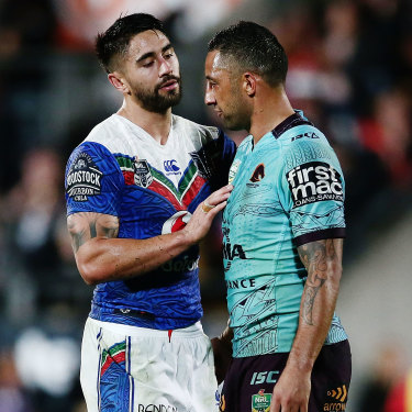 Shaun Johnson with his idol, Benji Marshall, while playing for the Warriors against the Broncos in 2017.