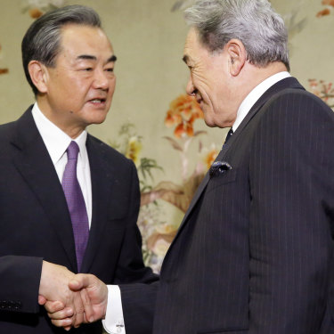 China's Foreign Minister, Wang Yi, meets New Zealand Foreign Minister Winston Peters in Beijing in May.