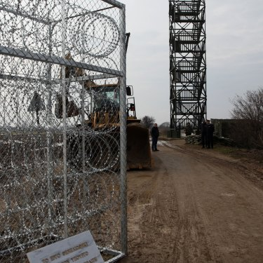 Part of the border wall at Kastanies on the Greece-Turkey border, erected in 2012 to stop refugees from the south.