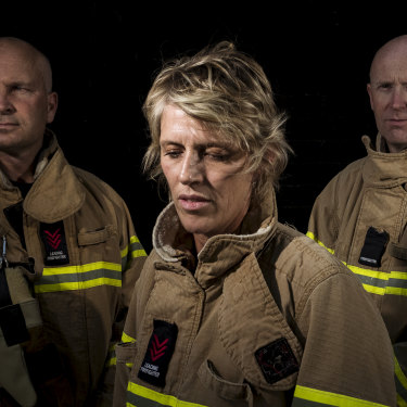 Firefighters Jason Dale, Kat Dunell and Adrian Lovelace, who were part of the crew tasked to fight the chemical fire at West Footscray last year.